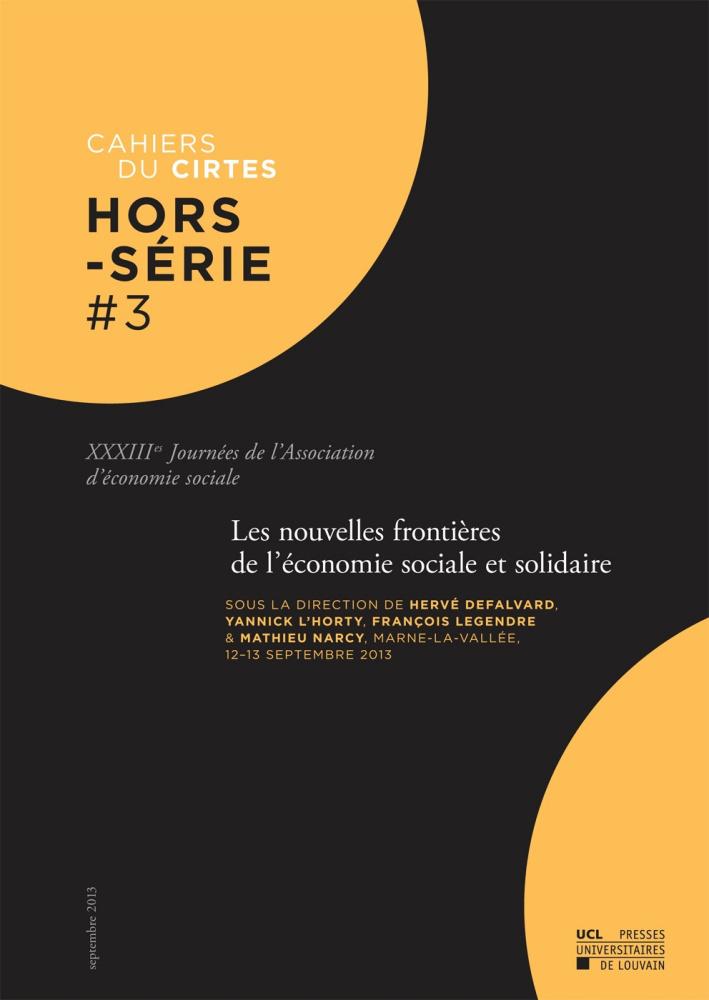 Les nouvelles fronti res de l 39 conomie sociale et - Chambre de l economie sociale et solidaire ...